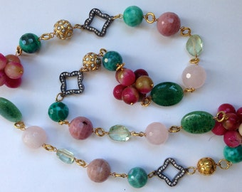 Pink and Green Gemstone Statement Necklace Long, Crackled Fire Agate, Rose Quartz, Green Amethyst, 24K Gold Vermeil Beads Wire Wrapped