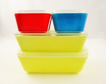 Full Pyrex Refrigerator Set - Four Piece Set PLUS With Lids - Blue, Red and Yellow - Extra Large Yellow - Useful and Usable - Complete Set