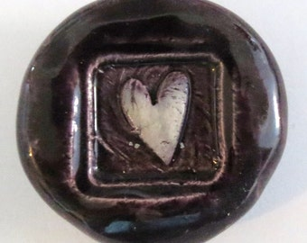 HEART Pocket Stone 2 - Ceramic - PURPLE Art Glaze - Inspirational Art Piece