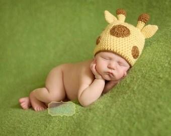 Baby Giraffe Hat - Crochet Giraffe Hat - Animal Hat - Zoo Animal Hat - Newborn Photo Prop - African Safari Animal - Giraffe Baby Shower Gift