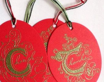 8 Handmade Christmas gift tags - Inspirational gift tags - Wedding gift tags - Red - Gold - embossed - Cherish - Hope - Joy - Thanks