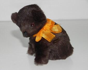 Brown Bear Rabbit Fur Figurine Made in Germany