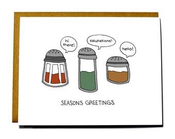 Funny Christmas card pun, seasons greetings