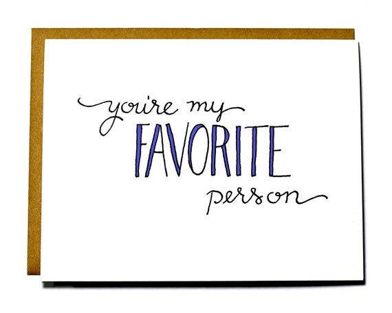 u're my sweety_Youre my Favorite Person sweet Valentines Day card