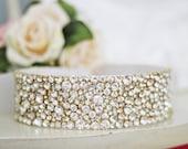 Bridal Elegance Bridal Couture SILVER or GOLD pronged Rhinestone Wedding Gown Sash Belt
