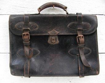 Vintage Leather Messenger Bag Folio Cowhide Saddlebag Style