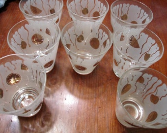 Vintage Gold & White Juice Glasses