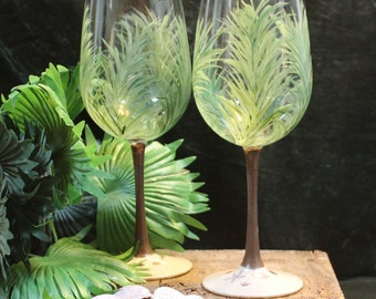 Hand Painted Wine Glasses (Set of 2) - Palms