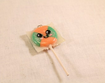 Silly Face Lollipop Charm Orange and Green 4 section Polymer Clay Food Jewelry
