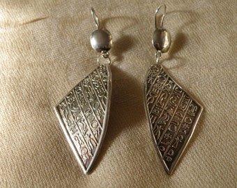 Middle Eastern Sterling Silver Earrings with Hieroglyphics