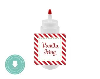 INSTANT DOWNLOAD Icing Bottle Labels (Printable Labels, Cooking Decorating, Gingerbread)