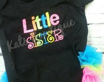 Triple ruffle little sister onesie
