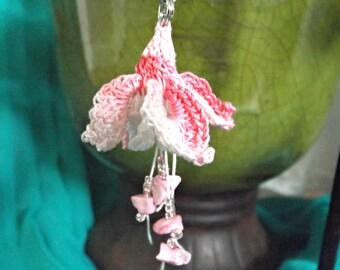 Crochet Lace Fuchsia Earrings - Swingtime with Howlite