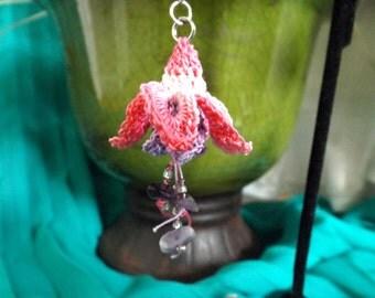 Crochet Lace Fuchsia Earrings - Blue Eyes with Amethyst