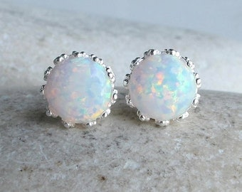 Classic White Opal Stud- Round Opal Earring- October Birthstone Earring- Sterling Silver Stud Earring- Simple Faceted Rainbow Earring