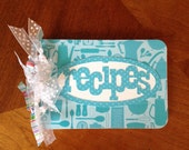 Blank recipe book aqua, teal, white, ribbons, spiral bound, recipe cards, cooking, baking