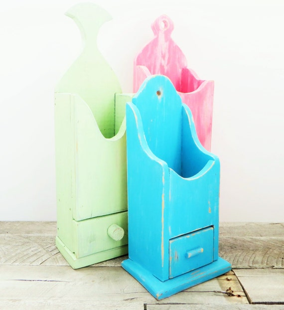 Hanging Storage Shelf - Mint Green Aqua Pink - Collection of 3 - Punchy Colours - Upcycled Home Decor