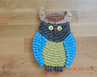 Hand Crafted Owl from Bottle Caps (Made to Order)