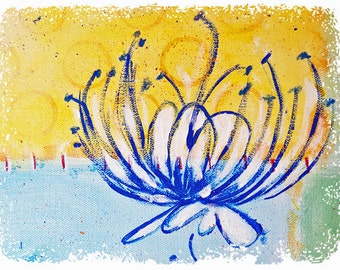 Floral Art NOTE CARD SET, Blue Flower, Detail from my Original Painting, Blank Inside, Blue and Yellow, Inside, 8 Cards and Envelopes