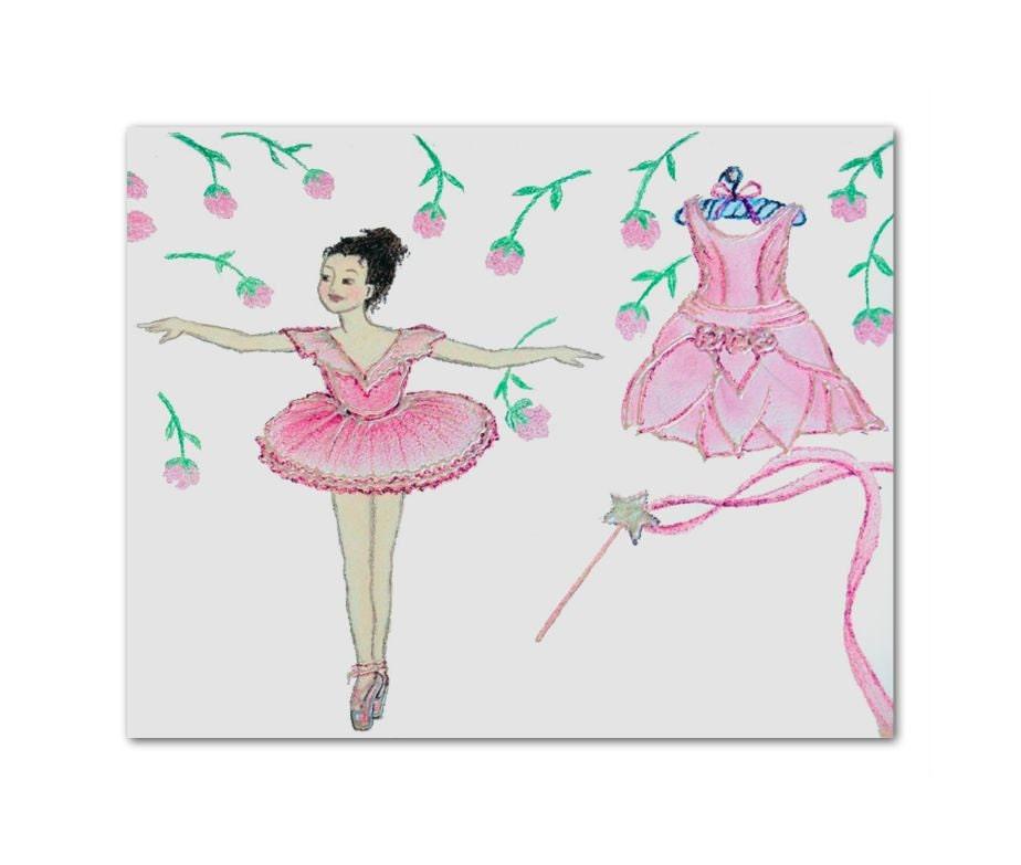 Ballerina wall art ballet dance art print 8x10 by handpainting for Ballerina wall mural