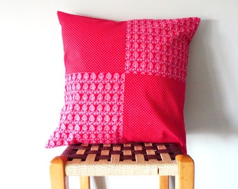 16x16 cushion cover, patchwork cushion, red cushion cover, scatter cushion, sale
