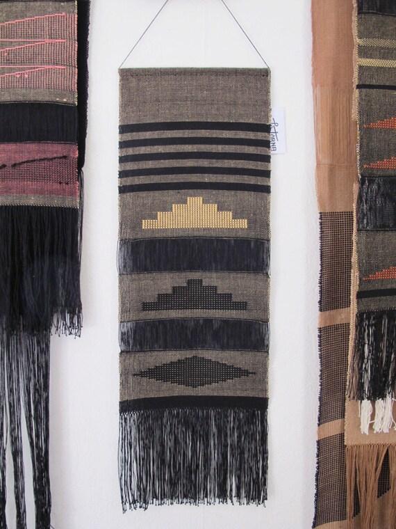 tenture murale tiss e main art textile tissage tapisserie. Black Bedroom Furniture Sets. Home Design Ideas