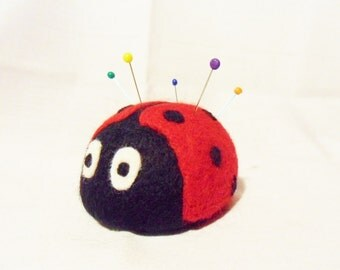 Needle Felted Ladybird Pin Cushion - 100% merino wool - needle felted pin cushion - felted ladybird - felt ladybird - ladybug