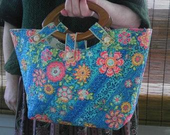 Pinwheel Floral Small Knitting Tote