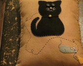 Handmade Wool Blend Felt Cat Pillow Embroidered and Appliqued, Cat and Mouse, Cat Gift, Holiday Gift, Throw Pillow, Animal Pillow, OFG, FAAP