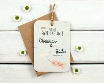 Map save the date luggage tag - personalised