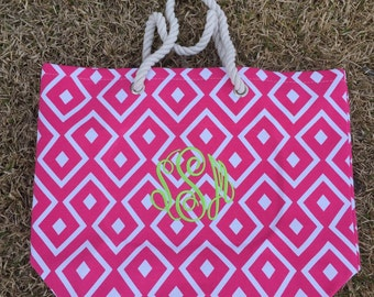 Monogrammed Beach Tote, Beach Bag, Easter Tote, Graduation Gift, Mother's Day Bag