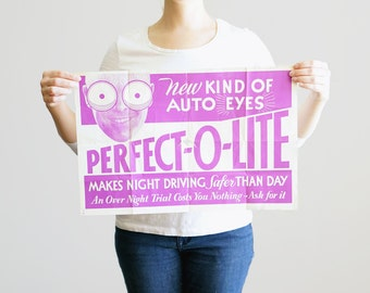 Antique Perfect O Lite Advertisement Poster Model T Ford Headlights