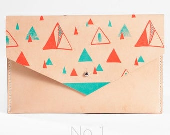 Mountain Patterned Leather Clutch - Limited Edition // Handcrafted