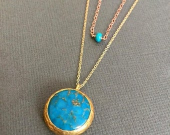 Turquoise with 22K gold powder inlayed pendant necklace, layering turquoise necklace, mixed color jewelry, boho chic jewelry