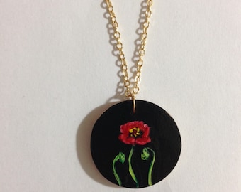 Single Poppy hand painted wooden pendant necklace