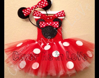 Minnie mouse tutu dress Red and white with HEADBAND EARS sz 9 mo to 7 years