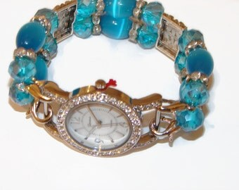 Bright Blue Petite Beaded Watch, Interchangeable Beaded Watch, Blue Bracelet Watch, BeadsnTime, Mothers Day Gift, Unique Gift