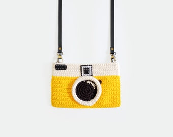 Crochet Vintage Camera Purse/ Yellow Color