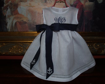 Navy Nautical Toddler Girl White Linen Dress with Hemstitching Monogrammed Great for Beach Portraits and Easter