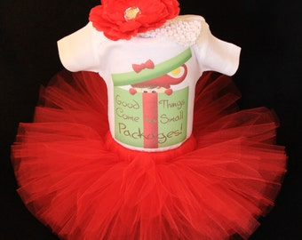 Baby's First Christmas Outfit  - Babys 1st Christmas -  Baby First Christmas Tutu Set  - Good Things Come in Small Packages! - CTHP1407R