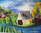 Textile art, felt painting on canvas, The boat house, 20 x 16 inches
