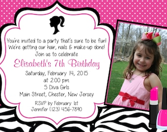 Glamour Party Invitation - Personalized Glamour Makeup Diva Birthday Invitation - Print Your Own - Photo Invitation
