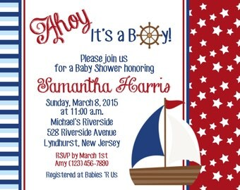 Ahoy It's a Boy Invitation - Personalized Custom Nautical Sailboat Baby Shower Invitation - Print Your Own