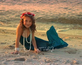 Blue One-Piece Mermaid Tail for Girls
