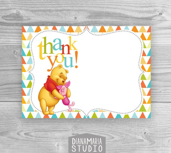 winnie the pooh thank you card  etsy, Birthday card