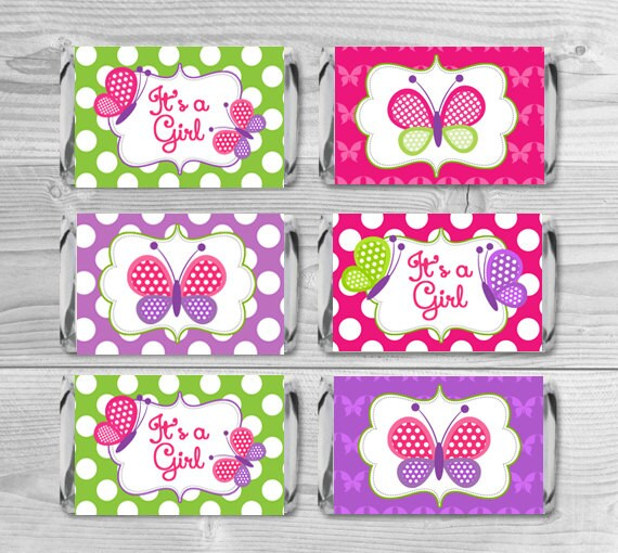 Baby Shower Favors Candy Bar Wrappers ~ Mini candy wrappers butterflies bar baby shower favors