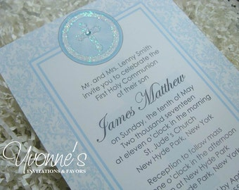 Communion, Confirmation, Christening, Baptism Invitation Holy Cross for Boy - in Blue for Religious Event