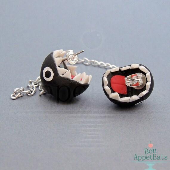 items similar to chain chomp post earrings mario
