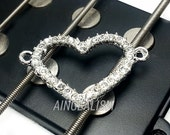 Heart Connector, Large Silver Tone Rhinestone Connector with Crystal Rhinestones, RC057