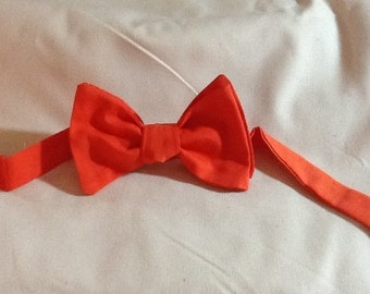 Mens Bow Tie  Coral Men's Bow Tie - Bow Tie  - Cotton Men's  - Free Style, Pretied Adjustable and Clip on available